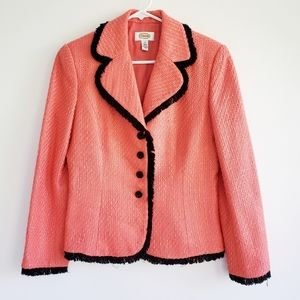 Talbots Textured Blazer with Black Frayed Piping